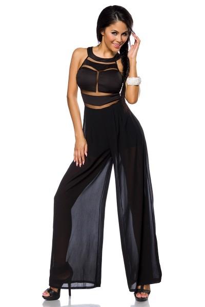 Schwarzer Damen Overall teiltransparent mit Reißverschluss, weiten Beinen und Shorts