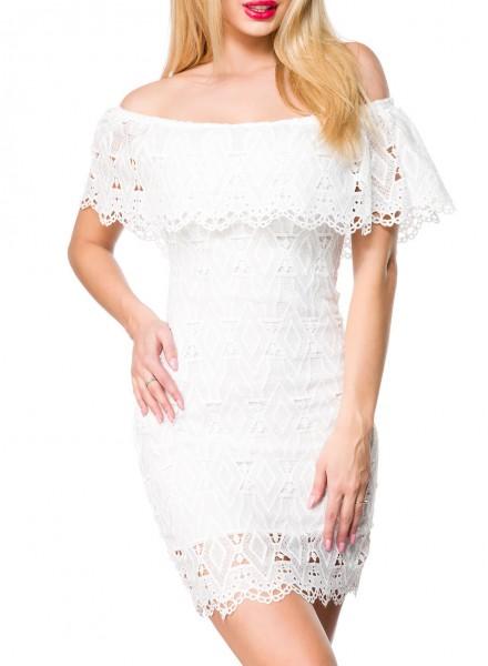 Weißes kurzes Kleid mit Carmenausschnitt und Spitze sowie angesetztem Volant Schulterfrei