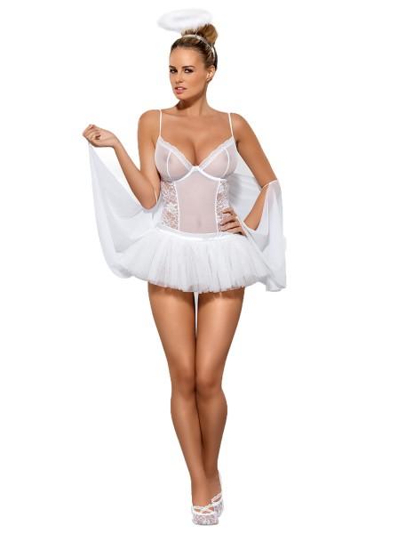Damen Dessous Set Engel Kostüm erotisch Teddy aus Mesh und Spitze mit Bügel Cups und Rock transparen