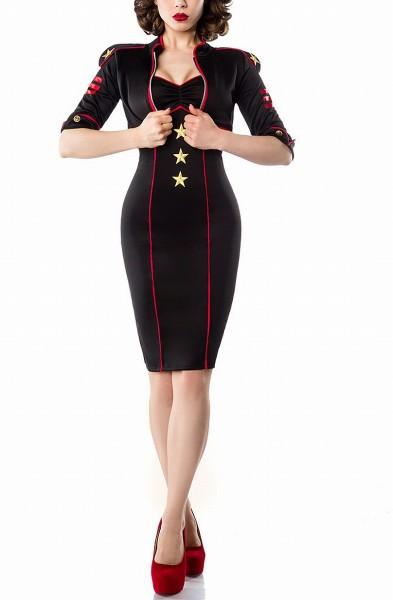 Schwarzes Damen Marine Kostüm mit goldenen Sternen mit Kleid und Jacke Marine Uniform Damen