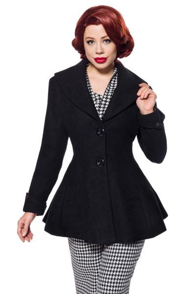 Schwarze Vintage Damen Woll-Jacke mit langen Ärmeln und Schalkragen Retro zum knöpfen vorn Vintage