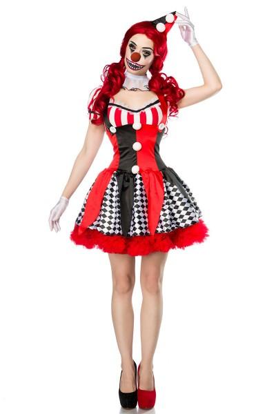 Horror Clown Kostüm Set Verkleidung Damen Kleid, Haarreif mit Hut, Nase, Halskrause, Kleid, Handschu