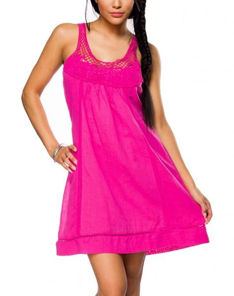 Pinkes Strandkleid zum binden mit Bindeband am Rücken und Häkeleinsatz gekräuselt