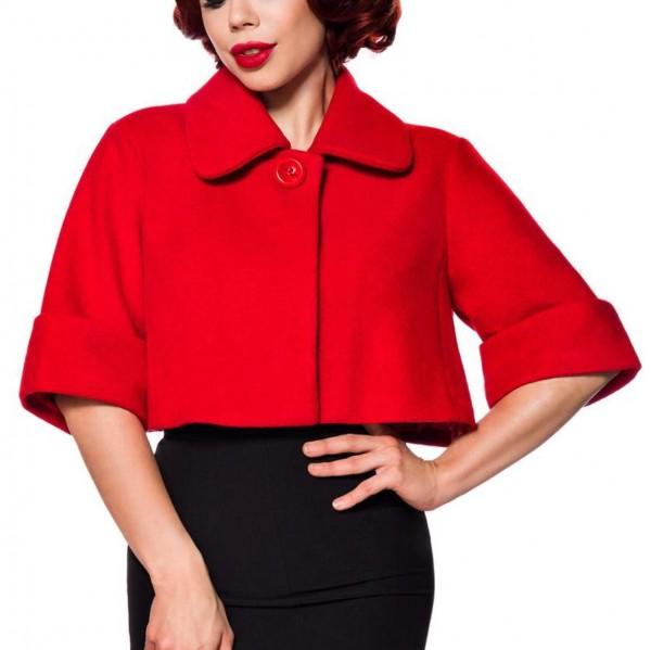 Rote kurze Damen Woll-Jacke mit kurzen Ärmeln und Umlegekragen Retro zum knöpfen vorn Vintage