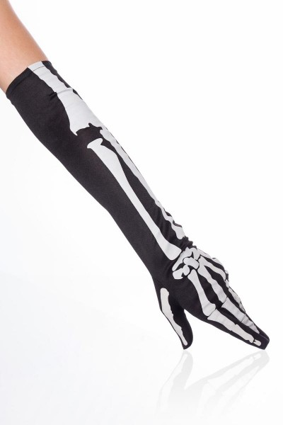 Schwarze Skeletthandschuhe lang elegante Handstulpen aus Satin Knochen Fasching