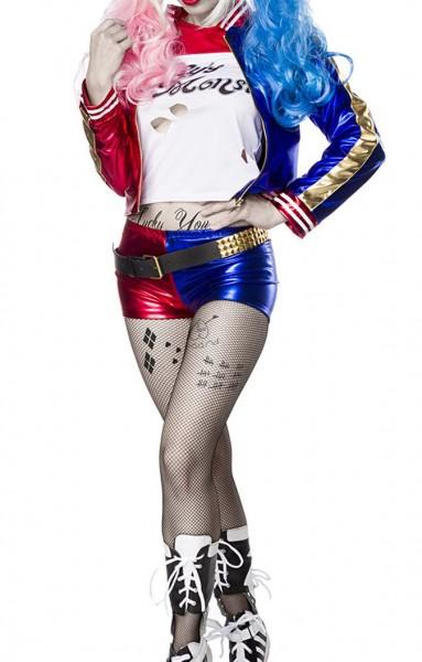 Damen Harlekin Fantasy Kostüm Joker Verkleidung aus Longsleeve, Jacke, Hotpants und Strumpfhose in w