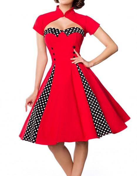 Rot schwarzes ausgestelltes Rockabilly Kleid mit Stehkragen und abnehmbaren Bolero Stoffknöpfe und R