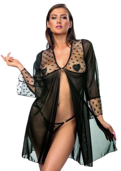 Schwarzer Damen Dessous Morgenmantel Robe Babydoll aus Tüll und Netz mit Sternen Motiv mit String