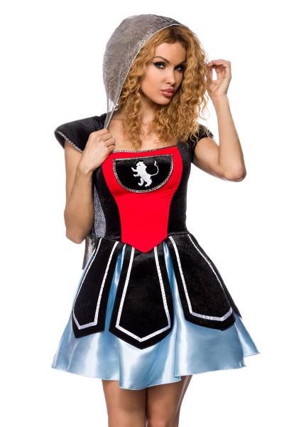Damen Ritter Kleid Kostüm Verkleidung mit Kleid, Puffärmel, String aus Samt und Satin S-M