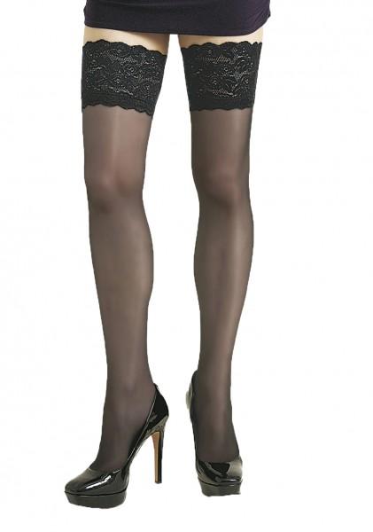 Damen Dessous halterlose Strümpfe aus Spitze in schwarz Stockings mit Silikonstreifen 20 den