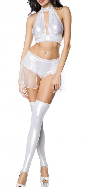 Erotisches Damen Dessous wetlook Set aus Neckholder Top, Hotpants und Beinstulpen in weiß aus Metall