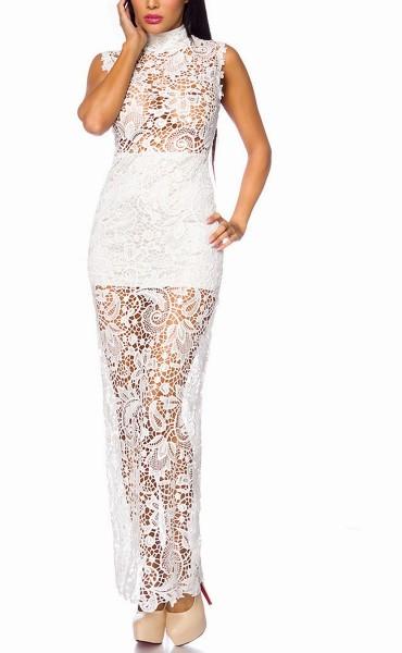 Weißes langes transparentes Abendkleid aus Spitze hochgeschlossen mit Stehkragen und Unterrock
