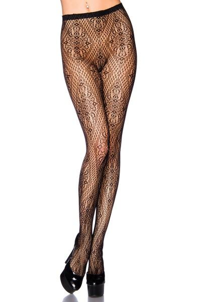 Transparente schwarze Damen Strumpfhose mit Blumenmuster und elastischem Bund Paisley