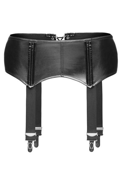 Schwarzer Damen Dessous Wetlook Strapsgürtel mit Schnürung Strapshalter elastisch