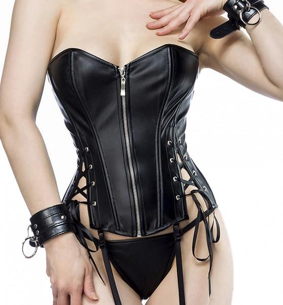 Schwarze glänzende Wetlook Corsage mit Frontreißverschluss und Rückenschnürung in Lederoptik und Her