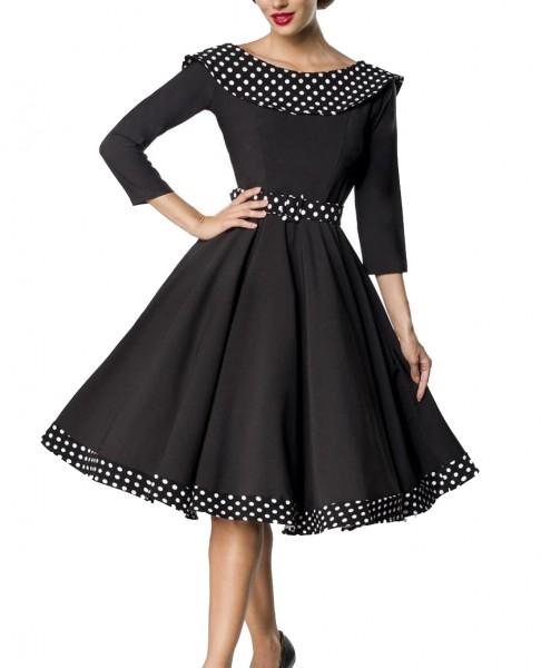 Schwarzes knielanges Swing Kleid im High Waist Schnitt mit Gürtel und Carmen-Ausschnitt Vollglocke u