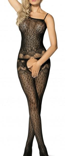 Schwarzer Damen Dessous Bodystocking ouvert Nacht-Kleid aus Netz Leopard Muster feinmaschig transpar