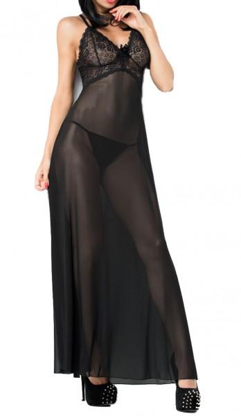 Langes Babydoll mit Spitze in schwarz transparent mit Rückenschlitz inkl String Damen Nachtkleid