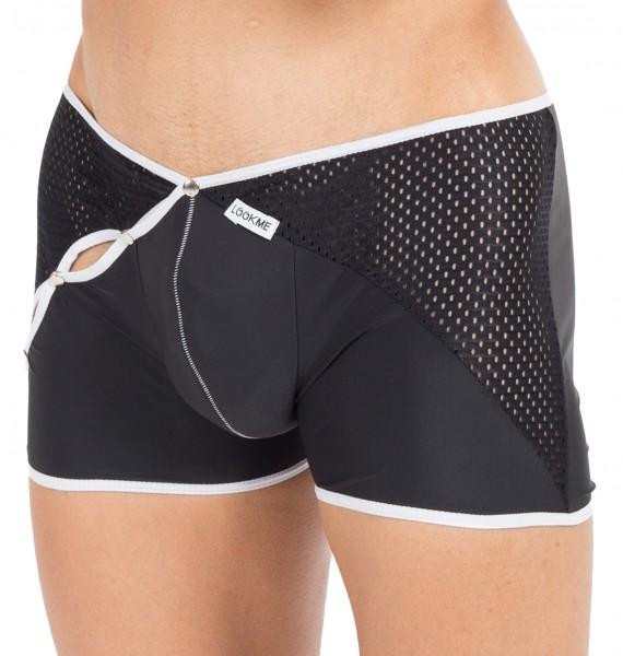 Schwarz/weißer Herren Dessous Boxer Short mit Druckknöpfe Männer Slip weich elastisch