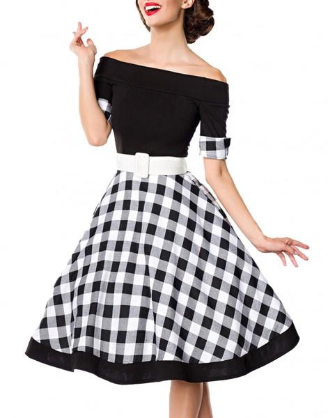 Schwarzes knielanges Swing Kleid im High Waist Schnitt mit Gürtel und Manschetten kariert und schult