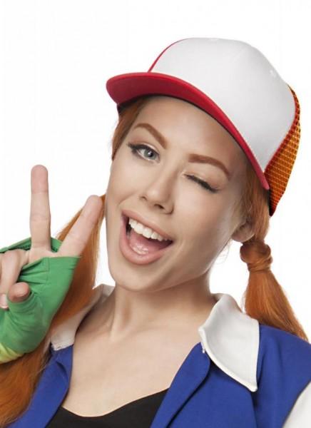 Rot Weiße Truckermütze für Damen mit Netzeinsatz Schirm Basecap Look