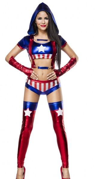 Damen America Outfit Kostüm Verkleidung Panty und Top Stulpen im USA Flaggen Look und Handschuh
