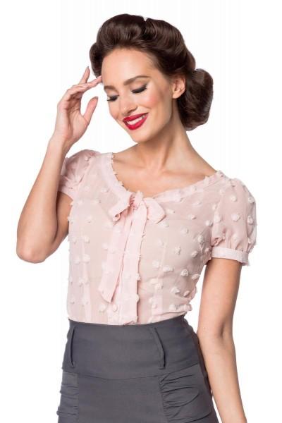 Rosa kurze Schluppen-Bluse mit kurzen Puffärmeln und Schleife transparenter Netzstoff Knopfleiste