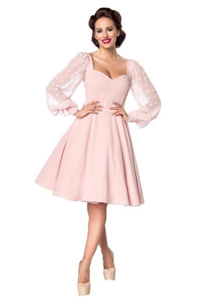 Rosa creme farbenes knielanges Swing Kleid im High Waist Schnitt mit Spitze und Herzausschnitt Vollg
