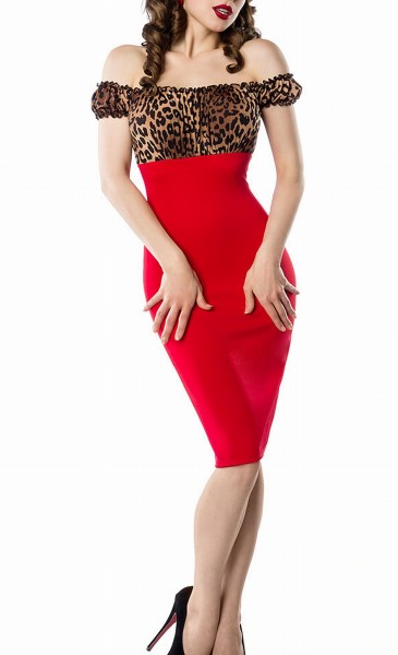 Schulterfreies Damen Pencilkleid in rot mit Leopard Muster Vintagekleid mit kurzen Ärmeln