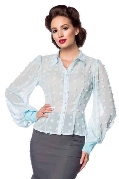 Blaue kurze Vintage-Bluse mit langen Ärmeln und Umlegekragen transparenter Netzstoff Knopfleiste