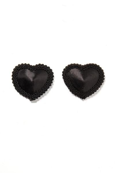 Schwarze Damen Nippel Patch Satin selbsthaftend Herzform mit Borte 2x