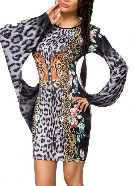 Dunkles kurzes enges Kleid mit langen Fledermausärmeln Muster Tunikakleid