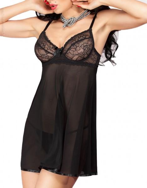 Erotisches Damen Dessous Babydoll Negligee mit Spitze und G-String in transparent schwarz