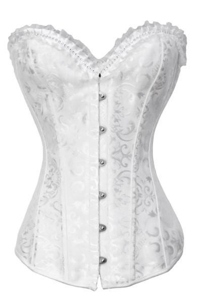Weiße Corsage mit Rosen Muster und Rüschen sowie Strass Barock Corsage Burlesque