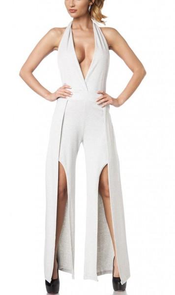 Damen Jumpsuit Neckholder mit Wickel Hosenbeine Sommerkleid V-Ausschnitt Hosenrock Optik grau