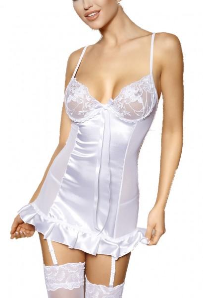 Weißes glänzendes Strapshemd aus Satin und Tüll Rückenschnürung mit verstellbaren Straps-Haltern ink