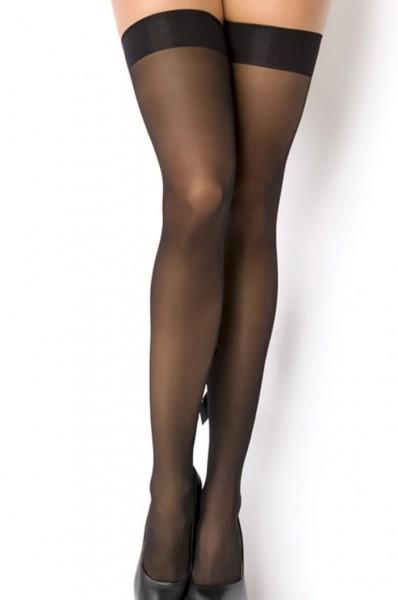 Schwarze Stockings mit Muster in Punkte-optik transparent Netzstockings mit Muster