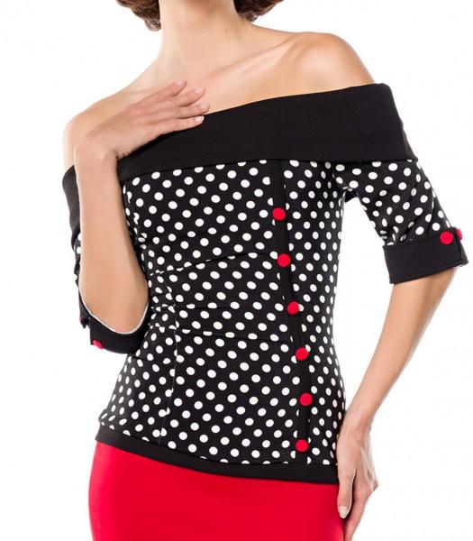 Schwarze schulterfreie Bluse aus Jersey mit kurzen Ärmeln und Manschetten weiß gepunktet Retro-Top m