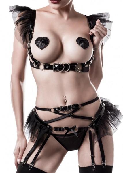 Schwarzes Damen Bänder Schnallen Strapsset mit tiefem Ausschnitt Top Oberteil und String gekreuzte B