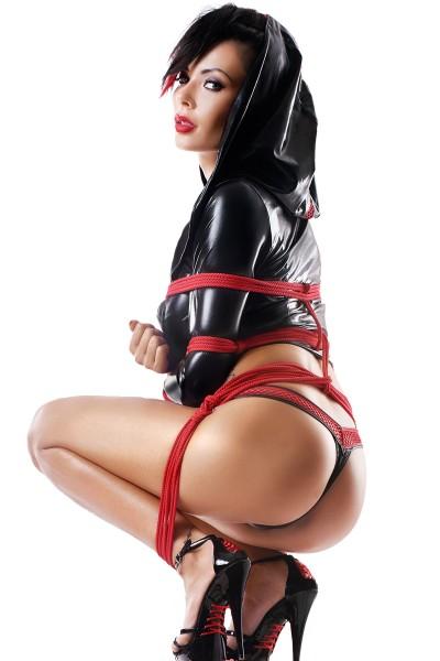 Damen Dessous Set aus Bolero, String und Seile in schwarz rot aus wetlook Material