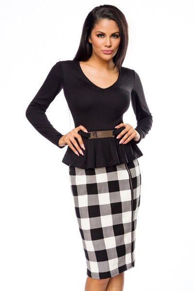 Elegantes Abendkleid Bleistiftkleid in schwarz weiß mit karomuster und V-Ausschnitt Damen Kleid knie