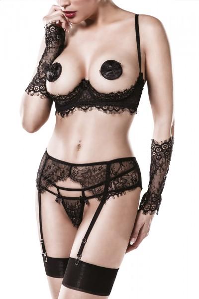 Frauen Dessous Straps Spitzen Set aus BH, String, Strapsgürtel, Armstulpen, Nipple Patches schwarz t
