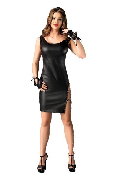Schwarzes Damen Dessous Wetlook Kleid mit Schnürung Gogo Abendkleid inkl. Handschuhe