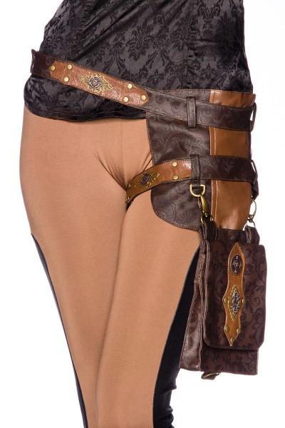 Braune Damen Beintasche als Hüftgürtel aus Kunstleder mit Nieten und Klappentasche