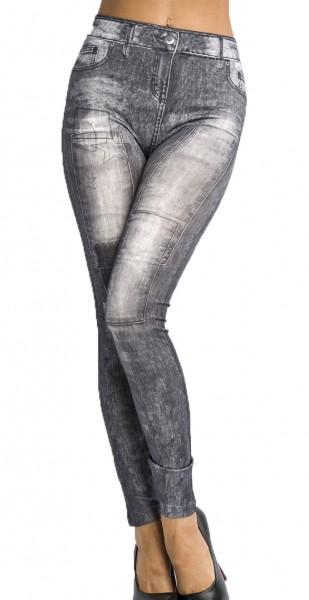 Graue Jeans Leggings mit Flicken und Nieten Print und Waschung Design Taschen Druck elastische Leggi