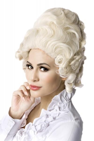 Weiße Damen Barock Frisur Perücke Volumenkopf ohne Pony Locken Haare
