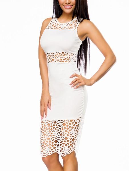 Weißes knielanges Sommerkleid mit Häkeleinsätzen und Racerback Trägern