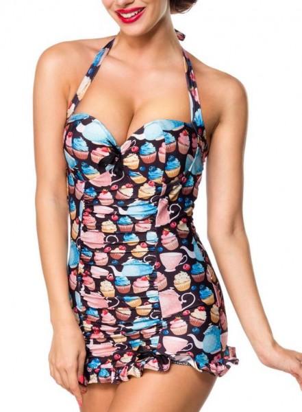 Elastischer Damen Badeanzug Neckholder Bade-Kleid mit Schleife und Kaffeekannen Kuchen Muster schwar