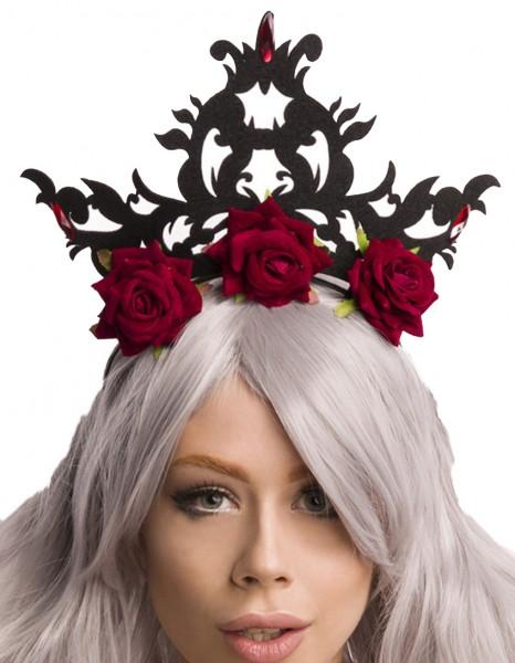 Schwarzer Damen Rosen Kopfschmuck Krone Blumen mit Filz 3 Rosen Abendmode Verkleidung Fascinator