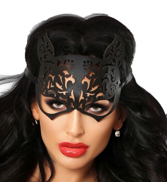 Kitty Ausgenmaske Katzen Maske aus Kunstleder flexibel schwarz weich OneSize